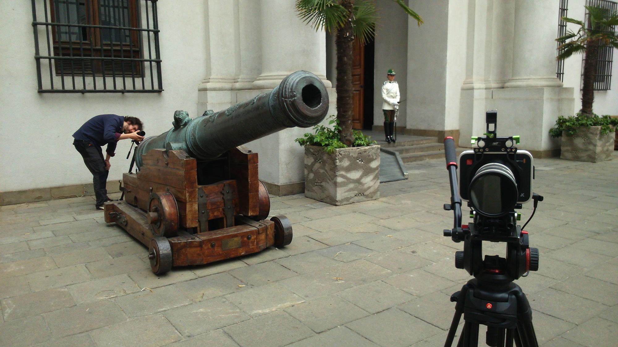 Filming at the Moneda Palace, Santigao, Chile